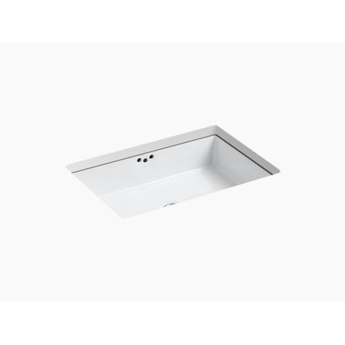 """White 23-7/8"""" X 15-5/8"""" X 6-1/4"""" Undermount Bathroom Sink With Glazed Underside"""