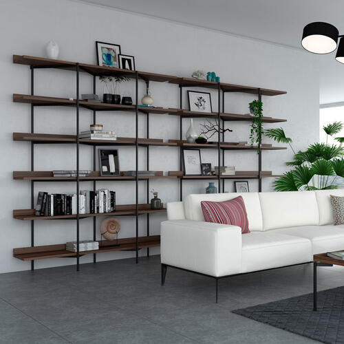 Shelving System 5306 in Charcoal Stained Ash Satin White