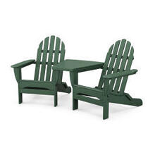 View Product - Classic Folding Adirondacks with Connecting Table in Black