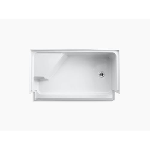 """White 60"""" X 36"""" Single Threshold Right-hand Drain Shower Base With Integral Seat At Left"""