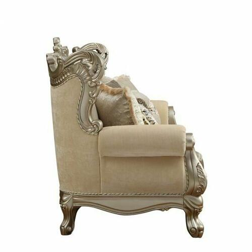 ACME Ranita Sofa w/7 Pillows - 51040 - Fabric & Champagne