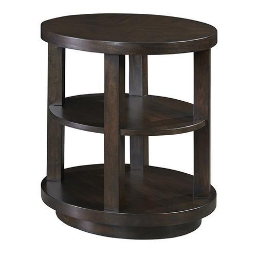 Oval End Table - Chocolate Mahogany Finish