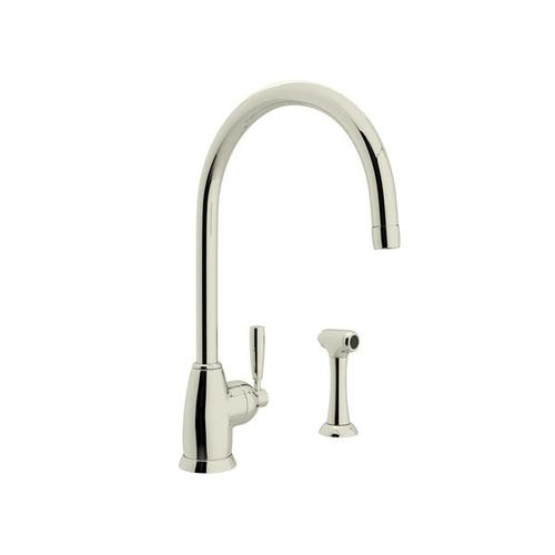Holborn Single Hole Kitchen Faucet with C Spout and Sidespray - Polished Nickel with Metal Lever Handle