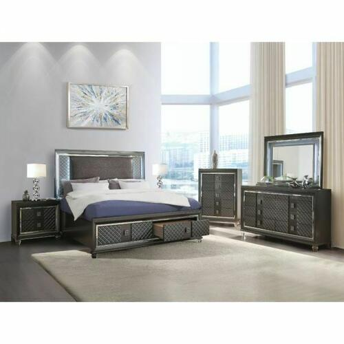 ACME Sawyer Queen Bed - 27970Q - PU & Metallic Gray