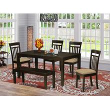 6 Pc Kitchen Table with bench-Kitchen Tables with Leaf and 4 Kitchen Dining Chairs plus Bench