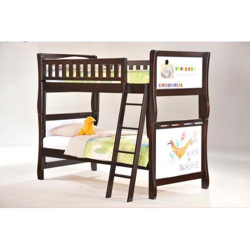 Night and Day Furniture - Scribbles Twin Twin Bunk in Dark Chocolate Finish