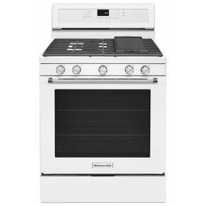 KitchenAid30-Inch 5-Burner Gas Convection Range - White