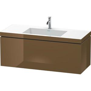 Furniture Washbasin C-bonded With Vanity Wall-mounted, Olive Brown High Gloss (lacquer)