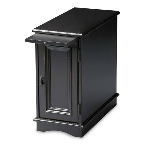 Butler Specialty Company - Selected solid woods, wood products and choice veneers. Basswood veneers on top, sides, pull out tray, door frame and panel. Antique brass finished hardware.