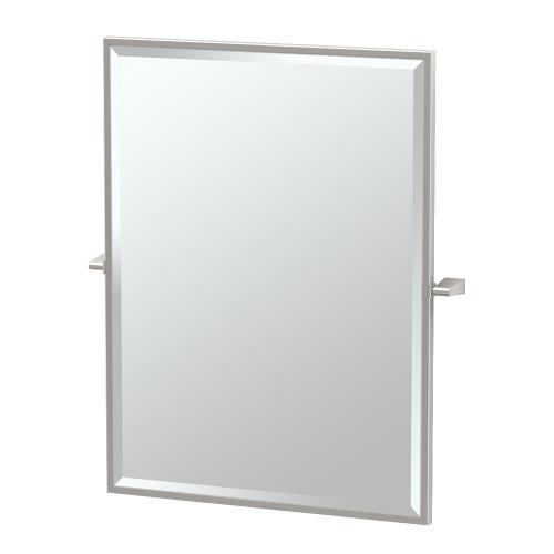 Bleu Framed Rectangle Mirror in Satin Nickel