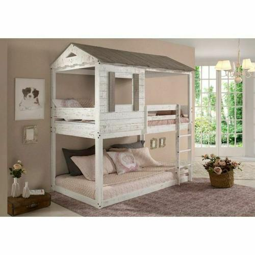 ACME Darlene Twin/Twin Bunk Bed - 38135 - Cottage - Wood (Solid Pine) - Rustic White