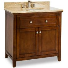 "36"" Chocolate Brown vanity with Satin Nickel hardware, Shaker style, and preassembled Emparador Light Quartz top and oval bowl"