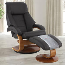 Mandal Recliner & Ottoman in Espresso Grain Leather