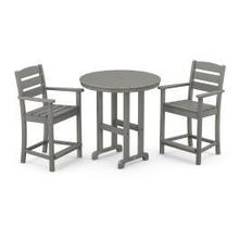 View Product - Lakeside 3-Piece Round Counter Arm Chair Set in Slate Grey