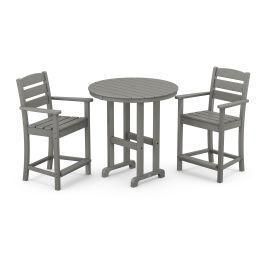 Polywood Furnishings - Lakeside 3-Piece Round Counter Arm Chair Set in Slate Grey