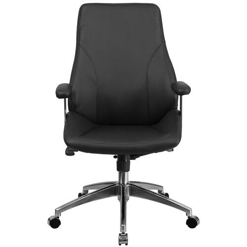 Mid-Back Black Leather Executive Swivel Chair with Arms
