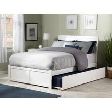 Portland Full Flat Panel Foot Board with Urban Trundle White