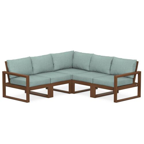 Polywood Furnishings - EDGE 5-Piece Modular Deep Seating Set in Teak / Glacier Spa