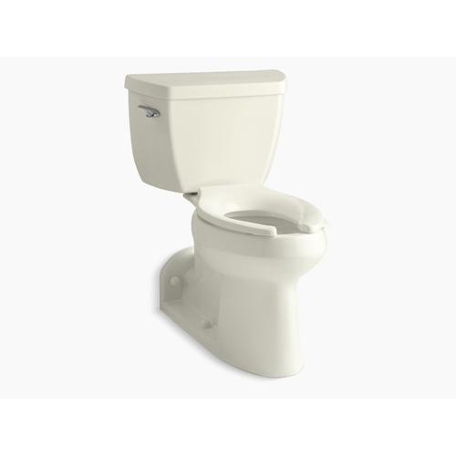 Biscuit Two-piece Elongated Chair Height Toilet With Tank Cover Locks