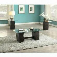 ACME Earleen 3Pc Coffee/End Table Set - 82250 - Espresso & Clear Glass