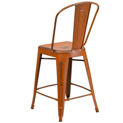 24'' High Distressed Orange Metal Indoor-Outdoor Counter Height Stool with Back