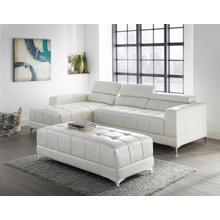 Samuel Bonded Leather Sectional, White With Ottoman