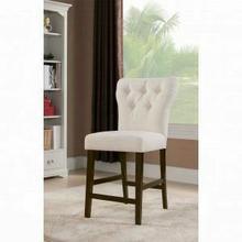 ACME Effie Counter Height Chair (Set-2) - 71527 - Beige Linen & Walnut