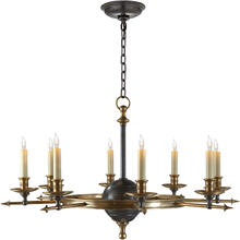 View Product - E. F. Chapman Leaf And Arrow 8 Light 35 inch Bronze with Antique Brass Accents Chandelier Ceiling Light in Bronze and Antique Burnished Brass