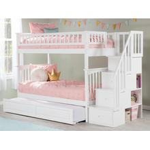 View Product - Columbia Staircase Bunk Bed Twin over Twin with Raised Panel Trundle Bed in White
