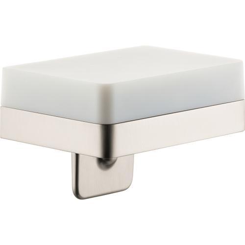 Brushed Nickel Soap Dispenser with Shelf