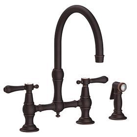 Venetian Bronze Kitchen Bridge Faucet with Side Spray