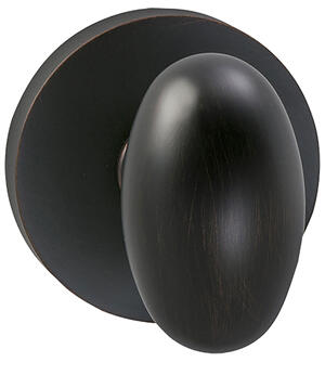 Interior Traditional Egg-shaped Knob Latchset with Modern Round Rose in (TB Tuscan Bronze, Lacquered) Product Image