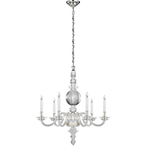 Visual Comfort - E. F. Chapman George Ii 6 Light 30 inch Crystal with Polished Nickel Chandelier Ceiling Light
