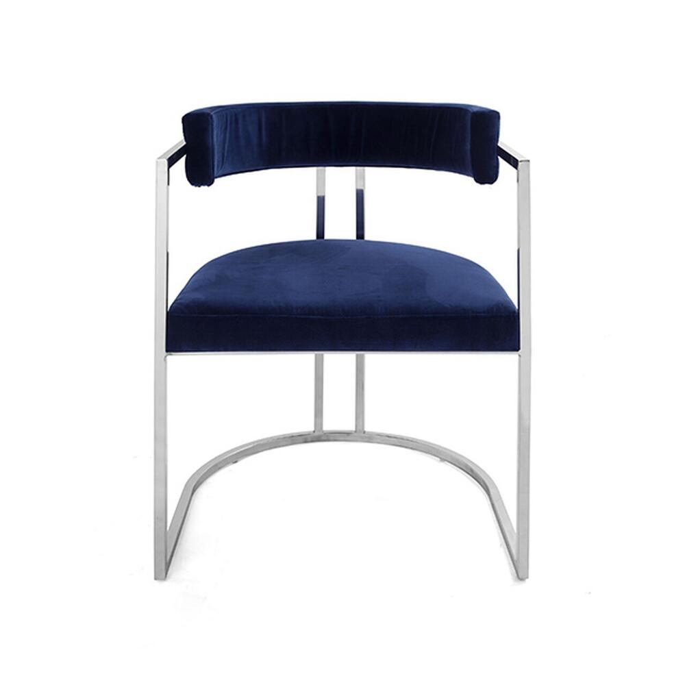 Airy, Refined, and Reminiscent of Old Hollywood, Our Mona Barrel Back Dining Chair Brings Modern Glamour To Any Interior. Lush Midnight Blue Velvet Upholstery Rests Gently On A Polished Nickel Frame.