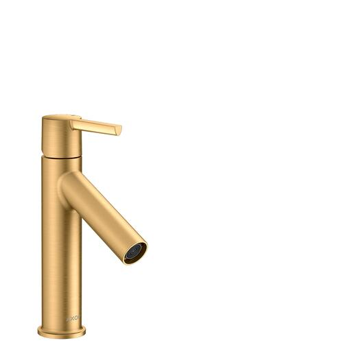 Brushed Brass Single lever basin mixer 100 with lever handle and waste set