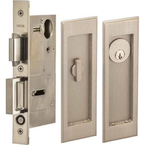 Product Image - Pocket Door Lock with Traditional Rectangular Trim featuring Turnpiece and Keyed Entry in (US15 Satin Nickel Plated, Lacquered)