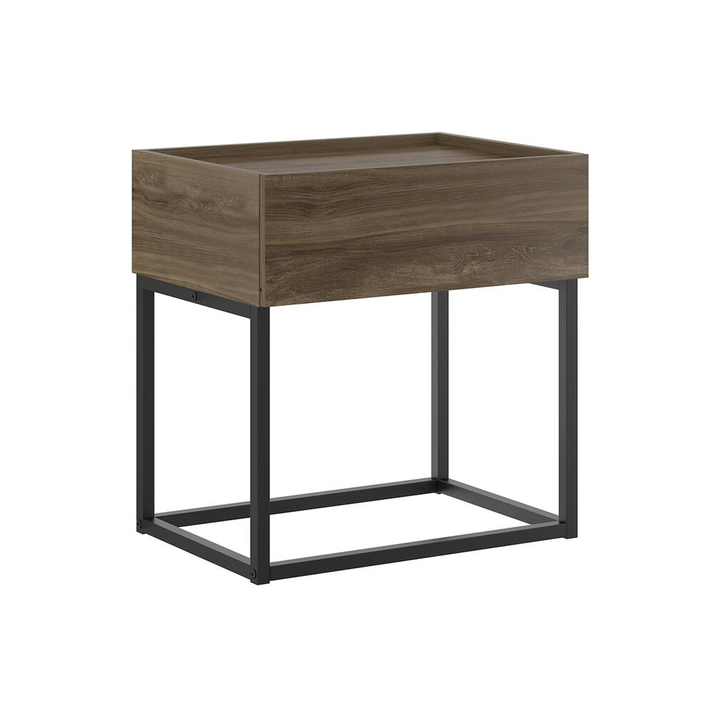 The Noa Nightstand Part Of Our Kd Collection In Dark Brown Oak Melamine With Black Painted Metal Frame