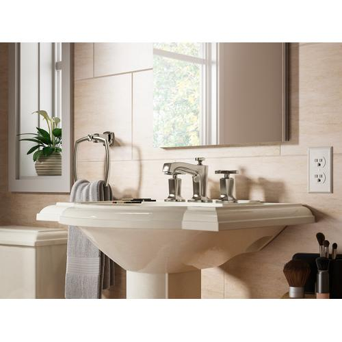 Vibrant Polished Nickel Widespread Bathroom Sink Faucet With Cross Handles