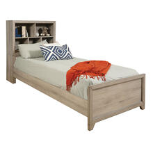 Kids Full Bed Bookcase Headboard in River Birch Brown