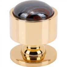 View Product - FireSky Iron Tiger Eye Knob 1 1/8 Inch Polished Brass Base Polished Brass