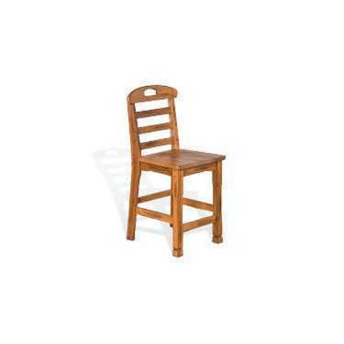 "24""H Sedona Ladderback Barstool w/ Wood Seat"