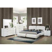 View Product - Felicity Contemporary White Upholstered Eastern King Bed