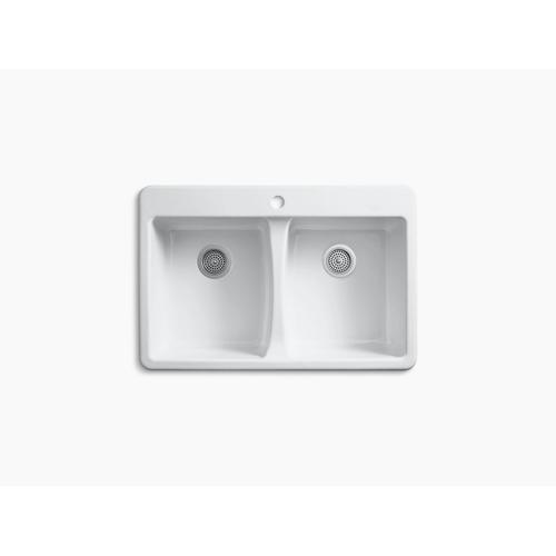 "White 33"" X 22"" X 9-5/8"" Top-mount Double-equal Kitchen Sink"