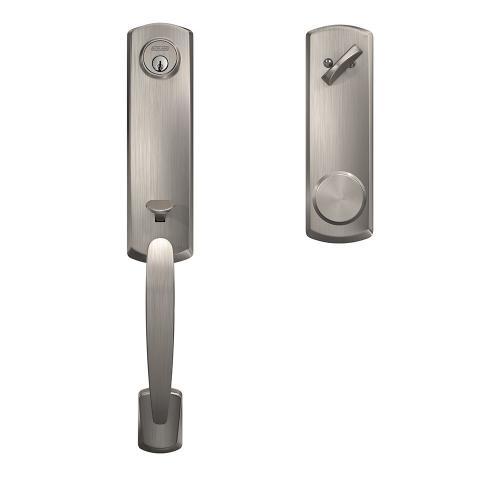 Custom Greenwich 3/4 Trim Single Cylinder Handleset with Bowery Knob - Satin Nickel