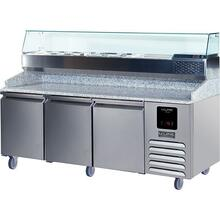 Product Image - 3 Door Pizza Prep-table Refrigerator + Condiment Rail With Stainless Solid Finish (115v/60 Hz Volts /60 Hz Hz)