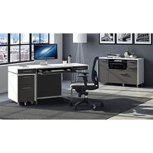See Details - Format 6301 Desk in Charcoal Stained Ash Satin White
