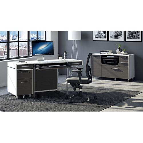 BDI Furniture - Format 6301 Desk in Charcoal Stained Ash Satin White