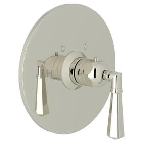 San Giovanni Thermostatic Trim Plate without Volume Control - Polished Nickel with Metal Lever Handle