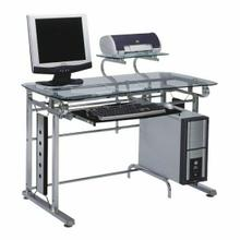 ACME Felix Computer Desk - 92040 - Silver Chrome & Clear Glass
