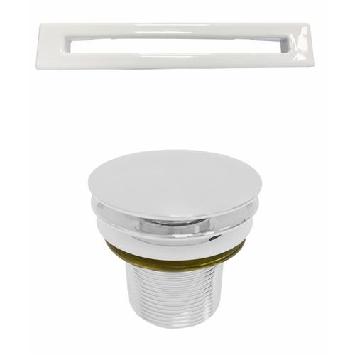 """Product Image - Mystique 59"""" Acrylic Double Slipper Tub with Integral Drain - White Powder Coat Drain and Overflow"""